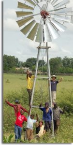 The new windmill to provide irrigation for the community garden at Hluvukani, South Africal