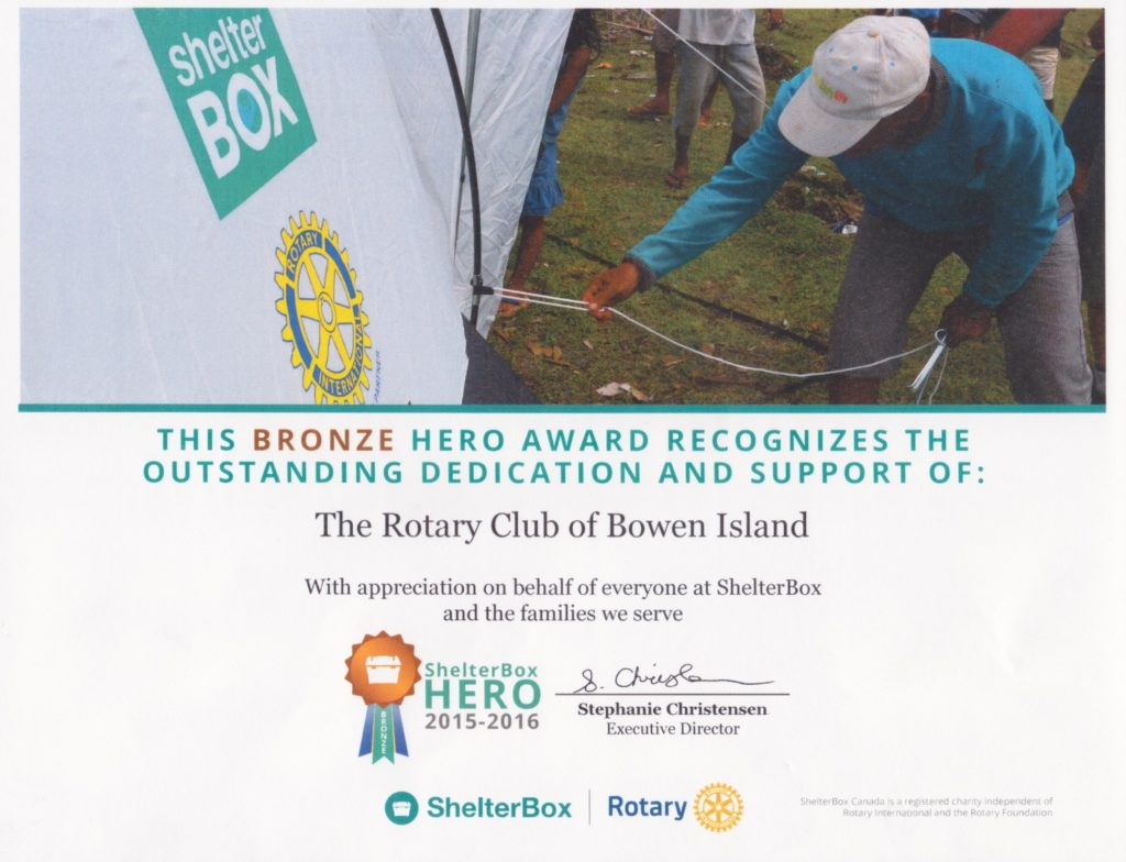 Bronze Hero Award from ShelterBox to the Rotary Club of Bowen Island